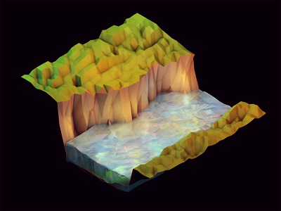 Water Lights 3d render iso isometric landscape ao c4d cinema 4d grass lights low poly lowpoly polygons model water river creek cliff