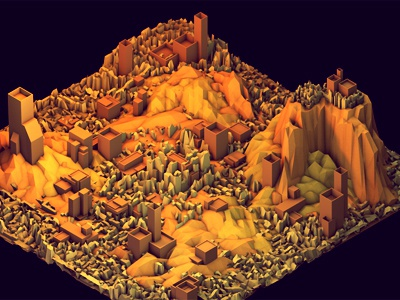 Ruins ruins city town 3d render landscape c4d cinema 4d rubble ao hillside mountains lowpoly low poly iso isometric destruction buildings architecture