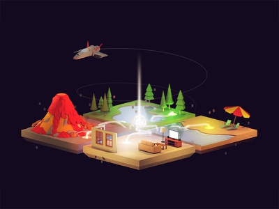 Parsec umbrella sand living room beach forest trees volcano ship cinema4d c4d render island 3d gaming parsec