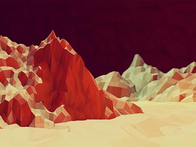 Redlands [Mars] red 3d landscape mountains terrain lowpoly low poly c4d cinema 4d ground land dof blur light