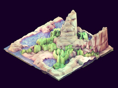 Peninsula 3d render iso isometric c4d cinema 4d ao geometry lowpoly low poly landscape island peninsula cliff hills mountains grass land water ocean