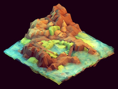 Island Map 3d render iso isometric c4d cinema 4d ao geometry lowpoly low poly landscape island peninsula cliff hills mountains grass land water ocean