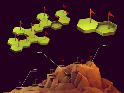Checkpoints 002 land grass mountains hills cliff peninsula island landscape low poly lowpoly geometry ao cinema 4d c4d isometric iso render 3d course layout track path trail checkpoints flags