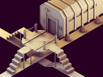 Level-002 doors drain grate science fiction sci-fi scifi base stage cinema 4d c4d model level design level game low poly lowpoly render 3d