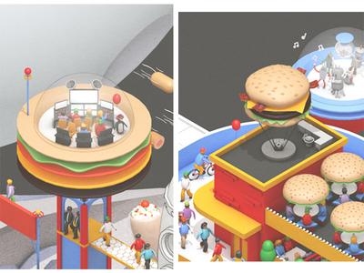 Space #3 walkway shake party dancing robot brick seating satellite computer tech dome orbit planet cinema 4d c4d render 3d burger restaurant space