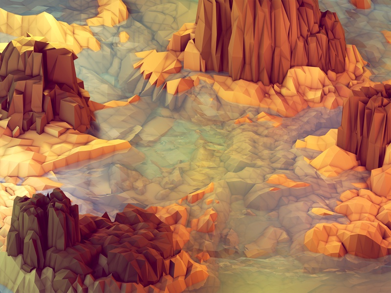 Nonsense Island [Warm] landscape iphone 5 wallpaper iphone 5 desktop design milk mountains hues blue ocean water sea island lowpoly low poly polygons ao cinema 4d c4d model isometric render iso 3d