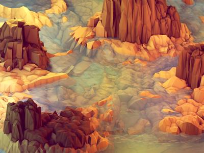 Nonsense Island [Warm] landscape iphone 5 wallpaper iphone 5 desktop design milk mountains hues blue ocean water sea island lowpoly low poly polygons ao cinema 4d c4d model isometric render iso 3d