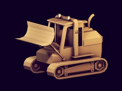 Bulldozer bulldozer machine vehicle work vehicle 3d render perspective parallel camera model c4d cinema 4d ao texture lights tailpipe lowpoly low poly