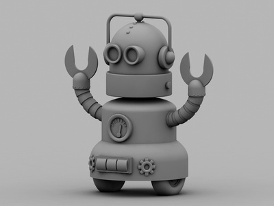 Robot robot machine claws arms wheels 3d render model c4d cinema 4d ao robotic future