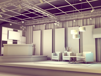 Talk Show Set talk show set set design exhibit event show stage setting lounge 3d render greyscale grayscale chairs furniture architecture model c4d cinema 4d ao lighting truss