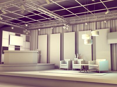 Talk Show Set talk show set set design exhibit event show stage setting lounge 3d render greyscale grayscale chairs furniture architecture model c4d cinema 4d ao lighting truss