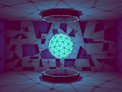 Orb [Style Frame] 3d render atom array model c4d cinema 4d ao light blue glow geometric lowpoly low poly portal scifi orb