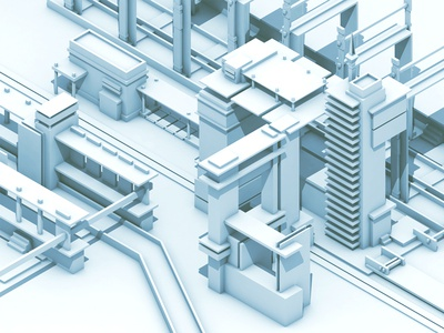 Mass Transit 3d render city town future futurism colony transport transportation c4d cinema 4d low poly lowpoly shapes buildings architecture blocks cubes train portal stop transit urban iso isometric