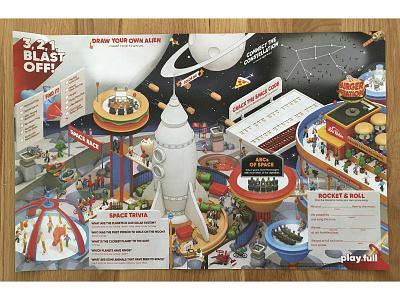 Red Robin Q1 2020 Kid's Menu - SPACE 🚀 classrooms dance kid menu kids menu restaurant burgers rocket isometric model architecture cinema 4d c4d render 3d space station planet orbit space red robin