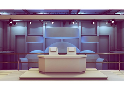 Set Design 3d render model c4d cinema 4d desk chairs set set design concept balcony floor exhibit event spotlights news warehouse