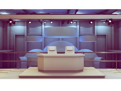 Set Design 3d render model c4d cinema 4d desk chairs set set design concept balcony floor exhibit event spotlights news warehouse