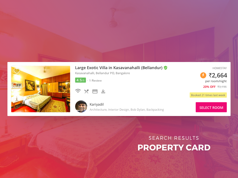 Property Card - Search Results  amenities travel stay price review rooms web search card property