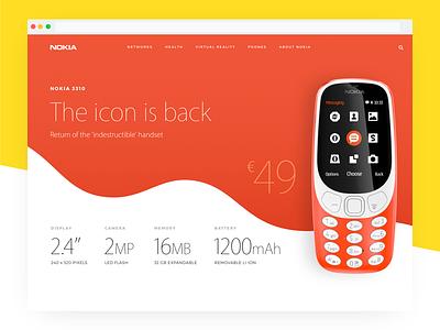 Nokia 3310 Landing Page Redesign Concept nokia landing redesign concept flat minimal ecommerce typography ui web