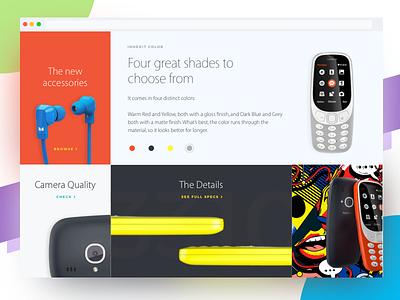 Blocks - Nokia 3310 Landing Page Redesign Concept web ui typography ecommerce minimal flat concept redesign landing nokia