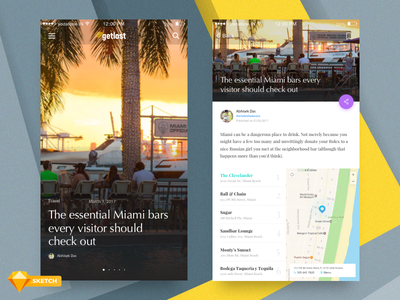 Magazine Concept - Home and Article [Freebie] clean travel ios minimal flat ux ui card article magazine freebies