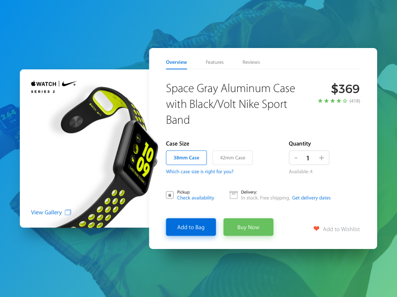 Apple Watch Product Card Concept web ecommerce minimal flat ux ui concept card product watch apple