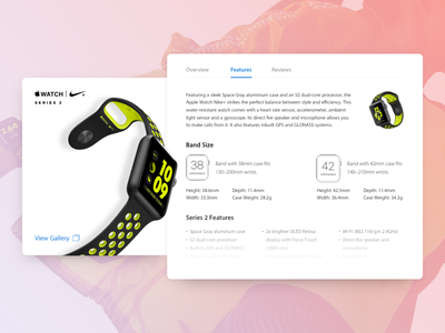 Apple Watch Product Card - Features apple watch product card concept ui ux flat minimal web