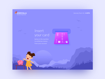 Kids ATM Welcome Screen payment bank finance money flat minimal welcome atm kids