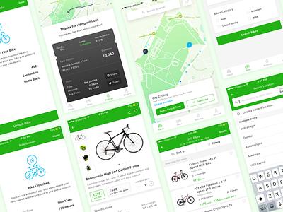 Bike (Bicycle) Rental App Concept app mobile ux ui cards ios maps city bicycle rental bike