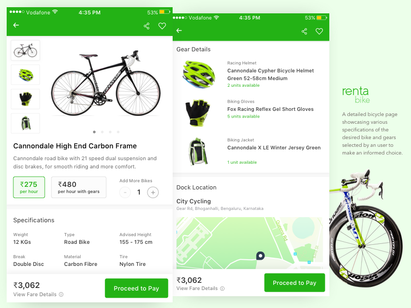 Bike (Bicycle) Rental App - Product Page bike rental bicycle city maps ios cards ui ux mobile app