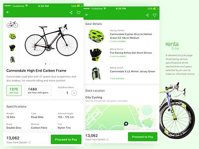 Bike (Bicycle) Rental App - Product Page bike rental bicycle city maps ios cards ui ux mobile app
