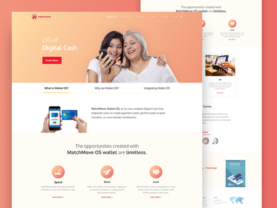 MatchMove Wallet OS Landing Page matchmove website minimal desktop ux ui payment finance landing page web wallet