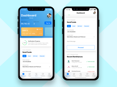 Remittance Wallet App - Dashboard transfer payment debit credit money iphone x app wallet bank finance