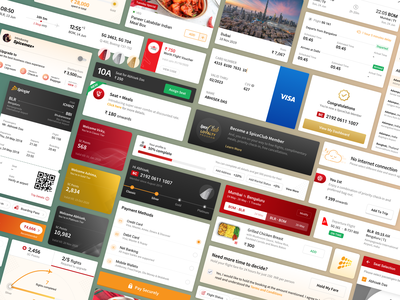 Airlines Web & App - Components and UI Elements airlines spicejet boarding pass loyalty program addons web checkin cards flat mobile web app travel ui ux