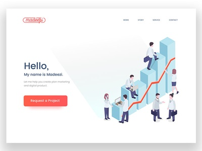 Madeezi Landing Page website web responsive process agency page mobile layout landing illustrations homepage isometric