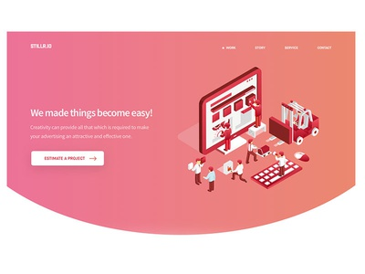 Landing Page WIP website web responsive process page mobile layout landing isometric illustrations homepage agency