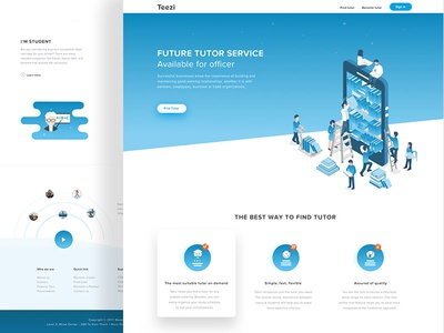 Teezi Landingpage website web responsive process education page mobile layout landing illustrations homepage isometric