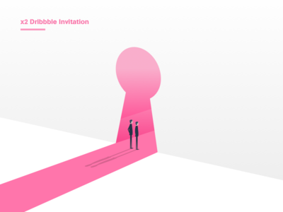 x2 Dribbble Invitation gradient pink invitation illustration invite dribbble
