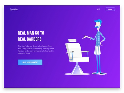 Barber website vietnam green violet homepage landingpage isometric gradient ui clear clean layout barber