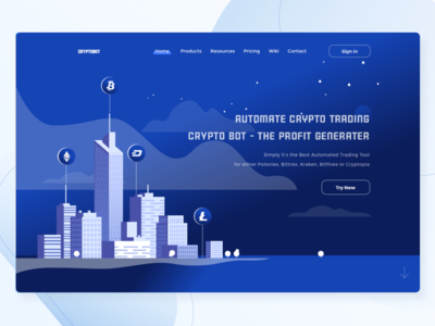 Crypto Landingpage landingpage ethereum illustration clear clean blue gradient ai bot bitcoin coin crypto