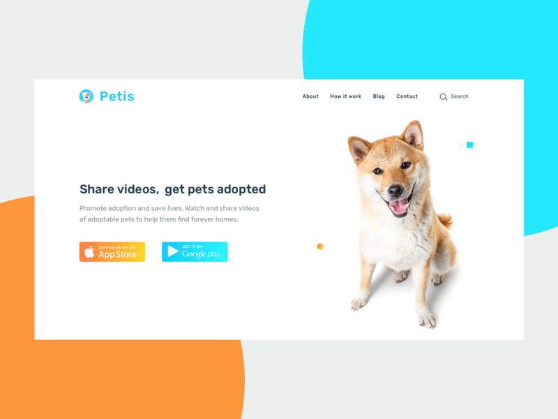 Petis - Pet Adoption Landingpage gradient dog cat vietnam landingpage pet clear experience ui clean