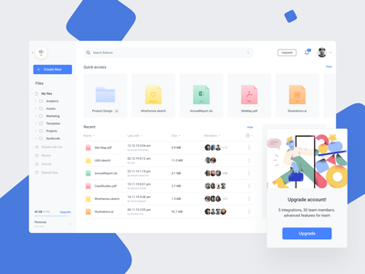 Cloud File Manager google drive dropbox tool file management collaboration web folder desktop dashboard cloud storage user interface ui ux design product design ux ui file sharing file manager cloud web app app