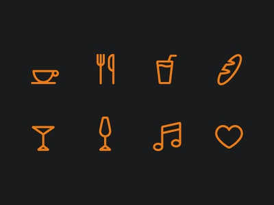 Lounge icons icons glyph line roundness lounge drinks love dark yellow