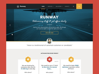 Runway website landing page runway job work staff testimonial blue yellow red map