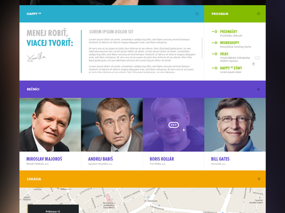 HAPPY Conference website web page happy conference colorful colors fresh speaker navigation counter blurry map
