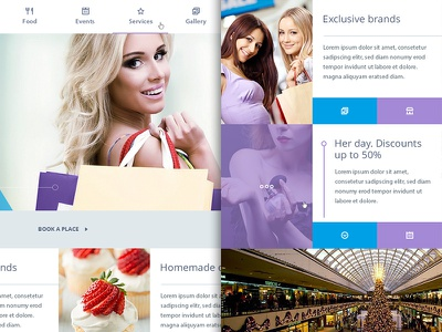 Shopy website homepage ui ux commerce shop food design violet azure woman