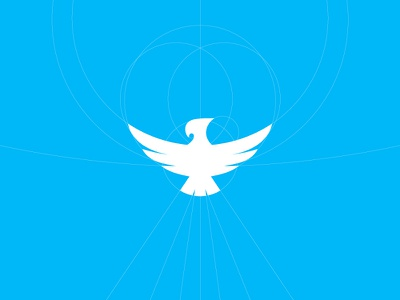 zBird logo mark symbol construction guidelines vector bird flight identity brand blue azure