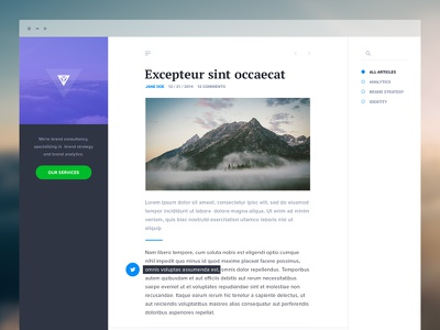 Blog template blog article list simple minimal clean flat violet dashboard ui ux whitespace