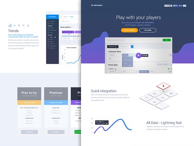 Infinario: Landing Page [A] landing pege website clean player game analytics platform graph linechart pricing blue violet