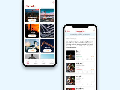 Listado - Coming soon location listing card layout listado curations ui ux iphonex