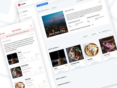 Listado Insights - Dashboard & Mobile View location listing product interface ui ux dashboard listado
